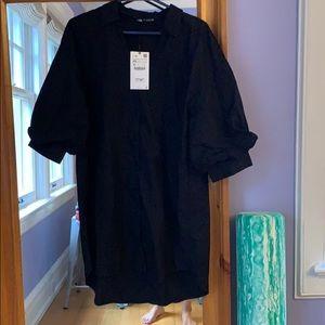 Black Zara (Europe) NWT button down shirt dress